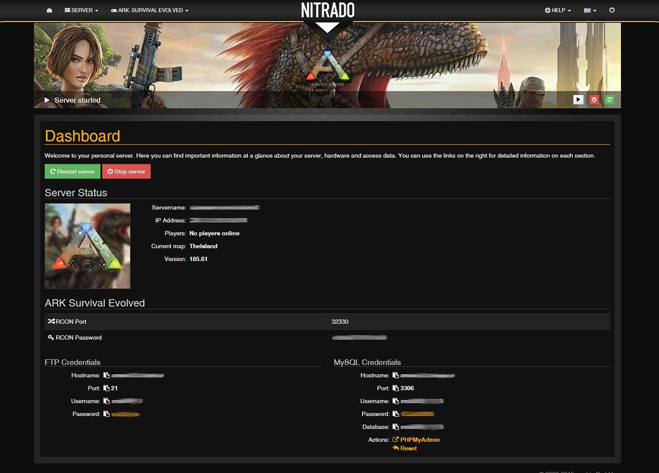 Nitrado ARK: Survival Evolved Dashboard