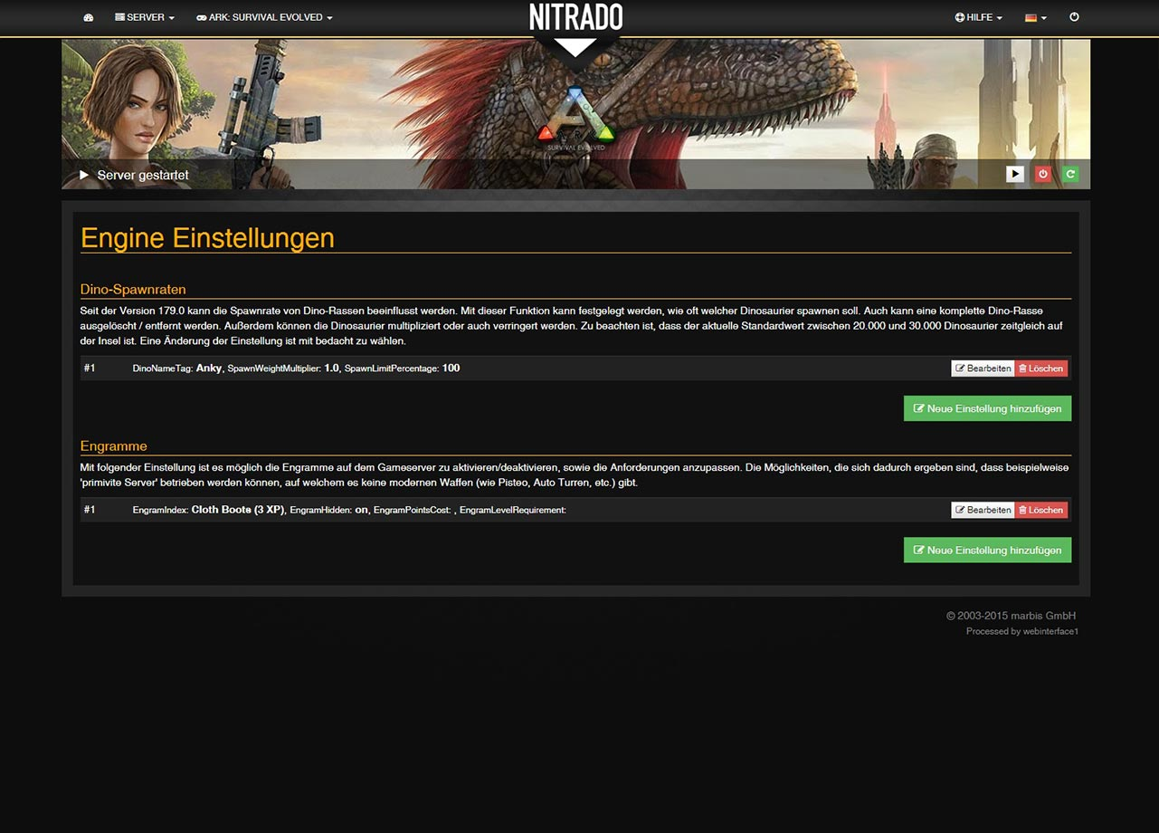 Nitrado ARK: Survival Evolved Engine Settings