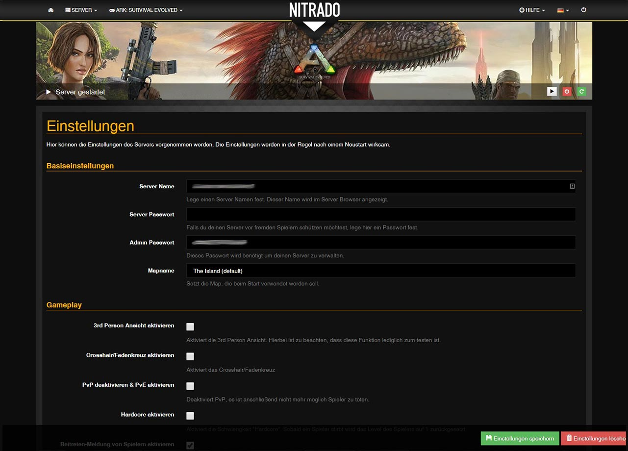 ARK Survival Evolved PC Gameserver Mieten Nitradonet - Nitrado minecraft server erstellen gratis