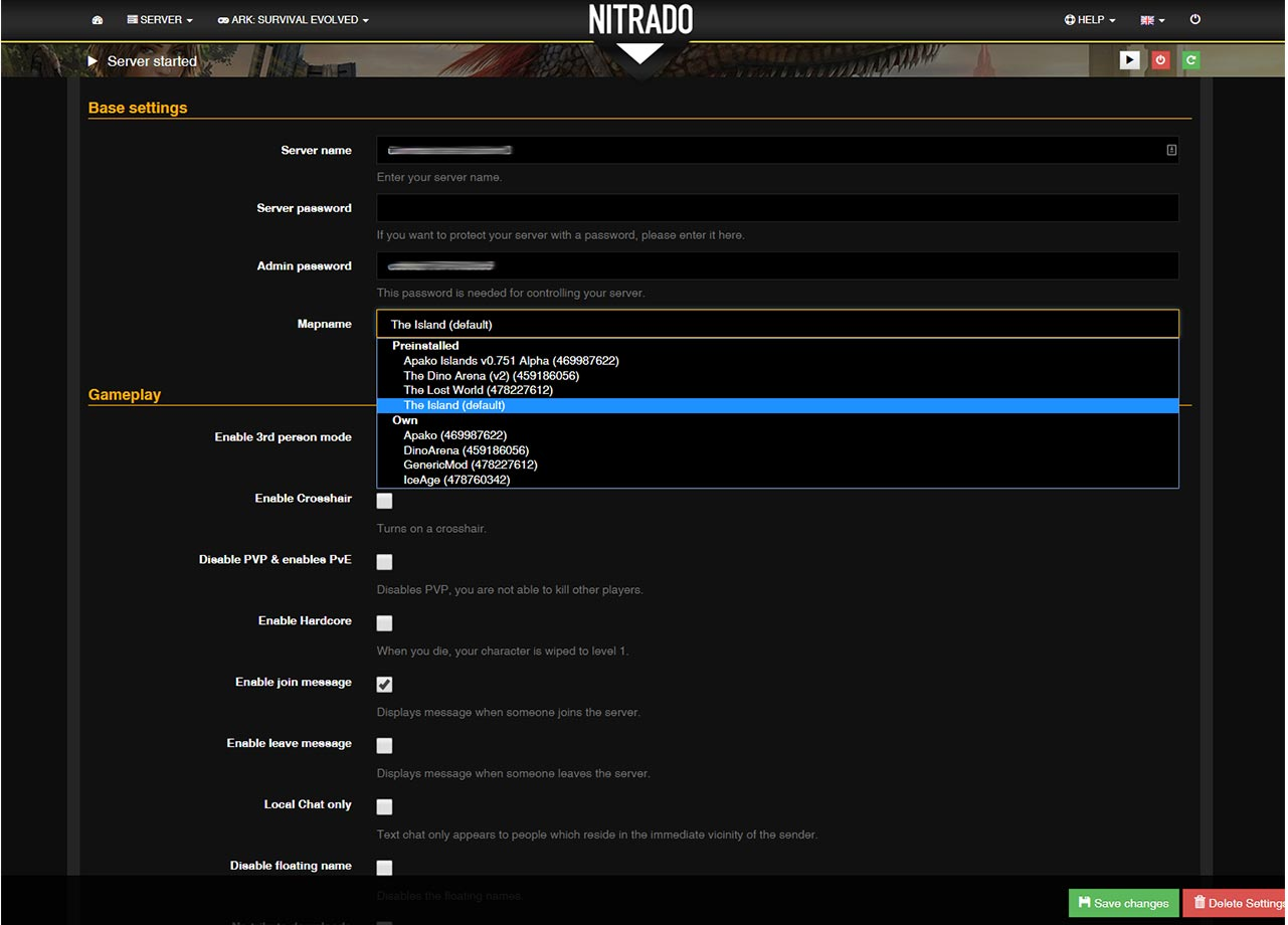 Nitrado ARK: Survival Evolved Settings 2