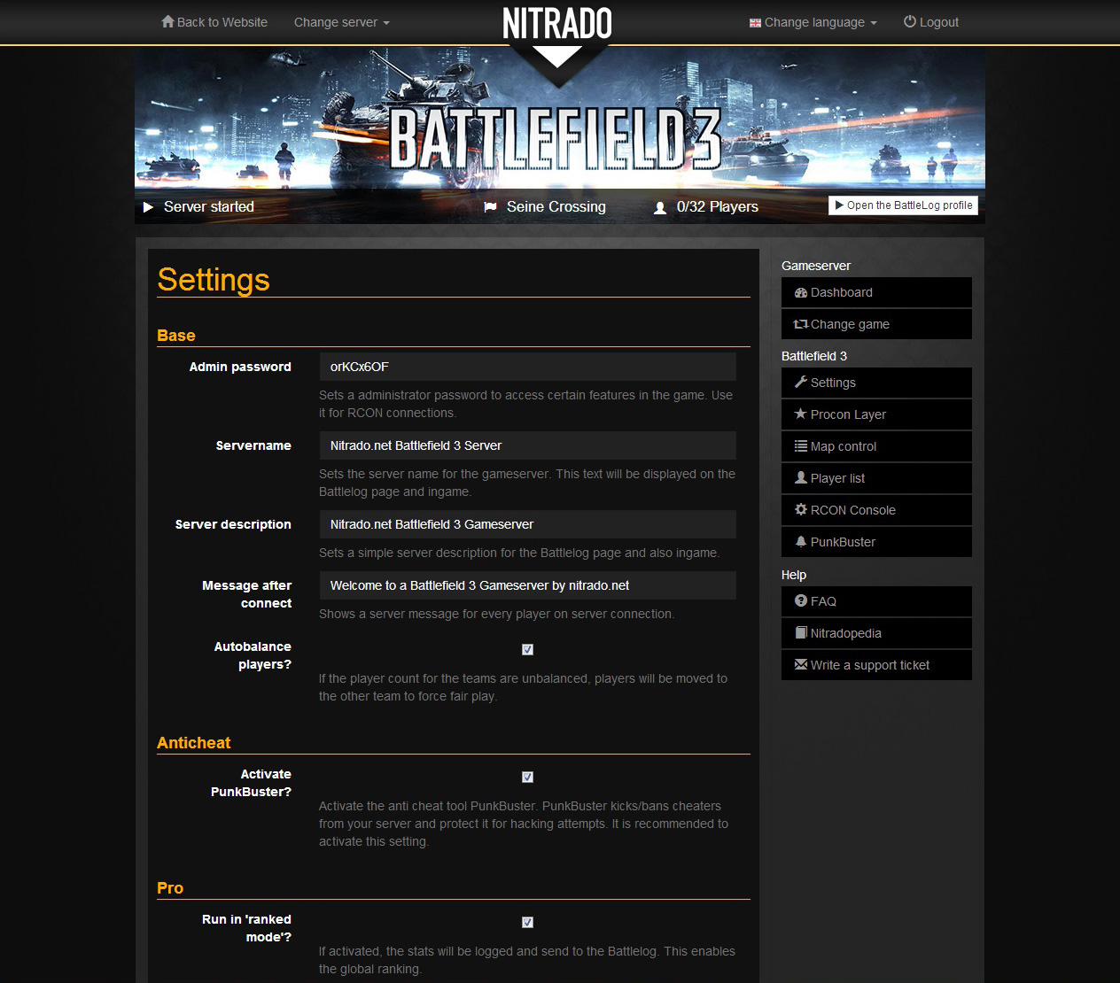 Battlefield 3 rent game server   nitrado net