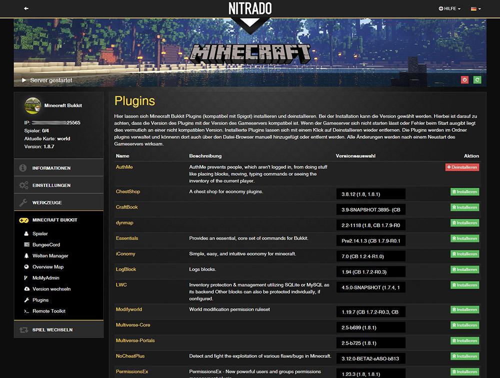 Minecraft Bukkit Spigot Gameserver Mieten Nitradonet - Minecraft server erstellen bukkit