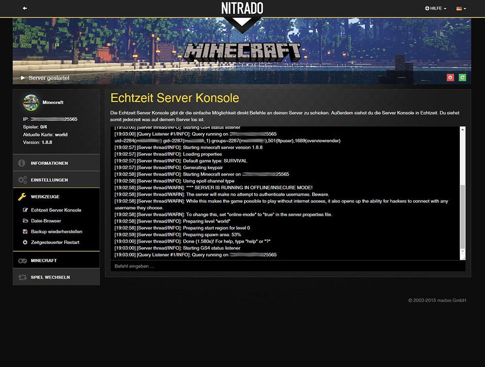 Minecraft Bukkit Spigot Gameserver Mieten Nitradonet - Nitrado minecraft server whitelist erstellen