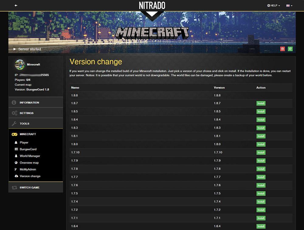 Minecraft rent game server | nitrado net