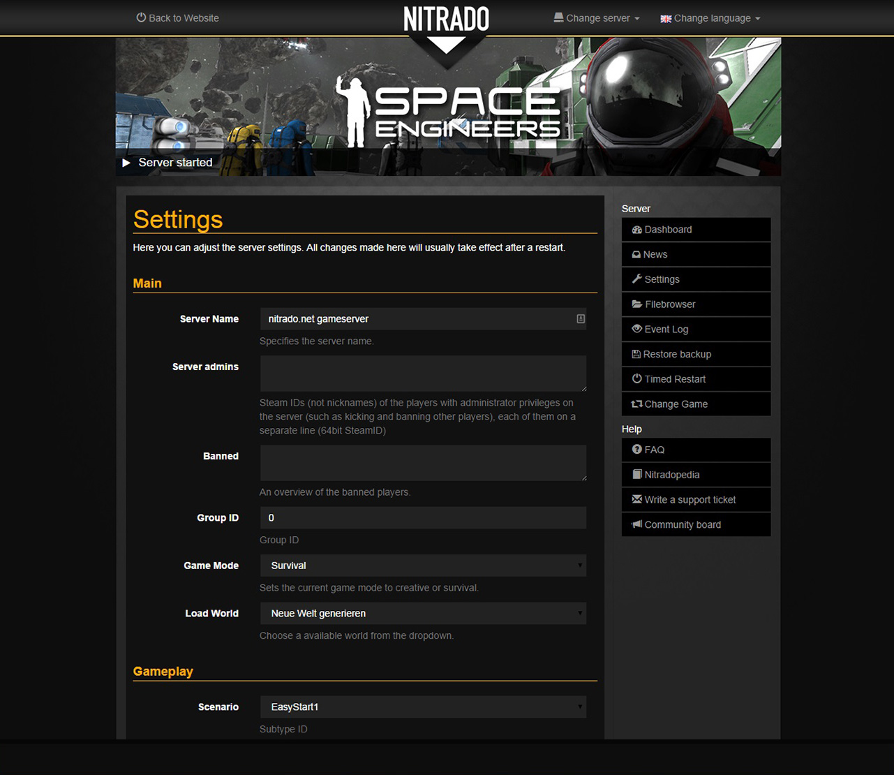 Nitrado Space Engineers Settings