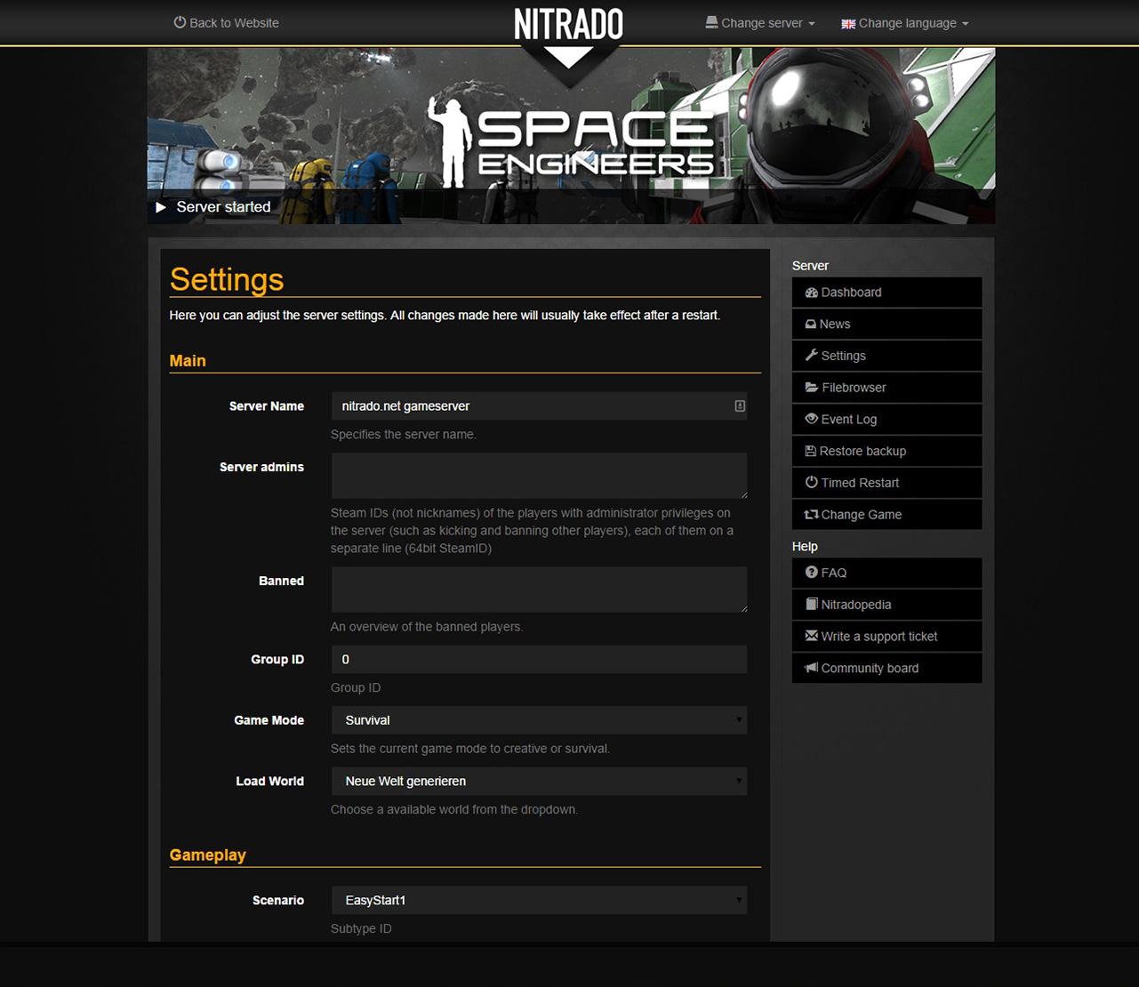 ark server settings deutsch