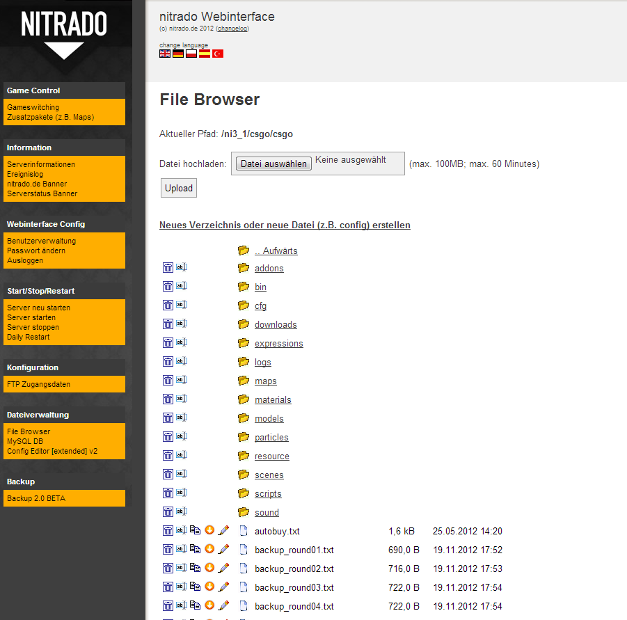 Nitrado FileBrowser